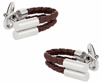Brown Leather Wrap Around Cufflinks