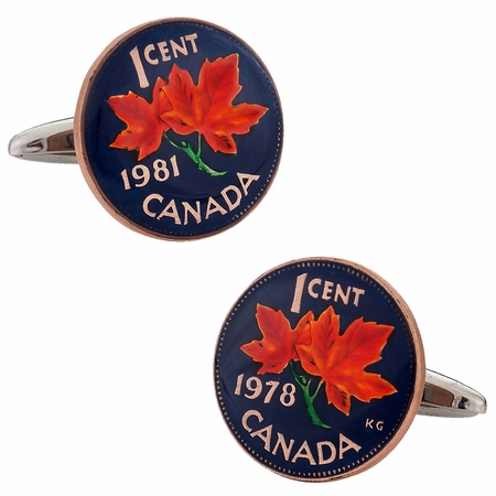 Canadian Maple Leaf Penny Cufflinks Hand Painted