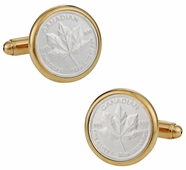 Canadian Maple Leaf Silver Bullion Cufflinks