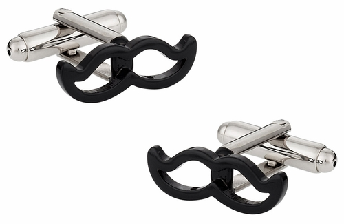 Movember Black Moustache Cufflinks