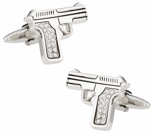 Crystal 9mm Handgun Cufflinks