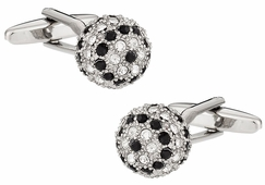 Crystal Ball Cufflinks in Black Clear