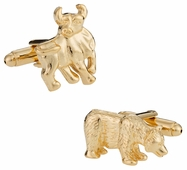 Gold Bull and Bear Finance Wall Street Cufflinks
