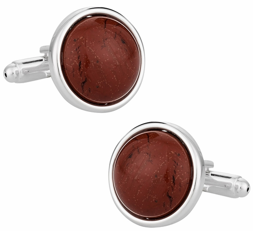 Domed Jasper Cufflinks with Sterling Silver Plate