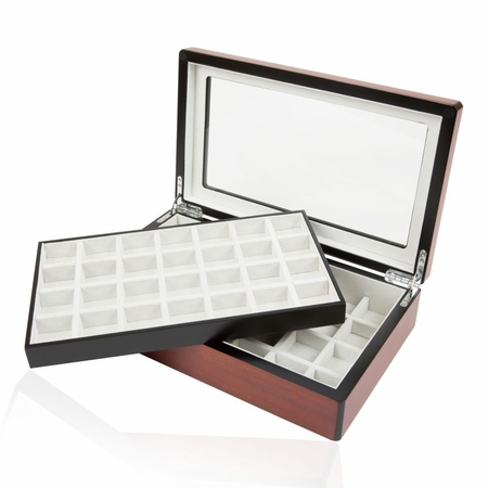 Double Walnut Cufflinks Storage Case (58 pair capacity)