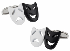 Drama Mask Cufflinks in Black White