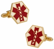 EMT Paramedic Star of Life Red Goldtone Cufflinks