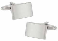 Engraveable Brushed Silver Cufflinks