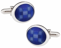 Fiber Optic Blue Cufflinks