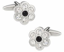 Flower Cufflinks with Black Center