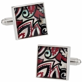 Genuine Mother of Pearl Black Red Cufflinks