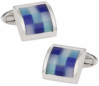 Glacier Blue Fiber Optic Cufflinks