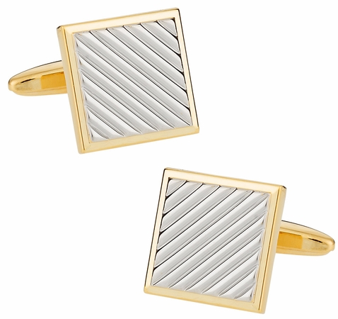 Gold and Silver Diagonal Cufflinks