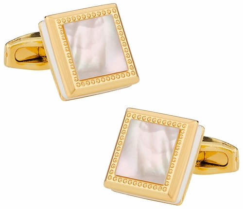 Gold Mother of Pearl Square Cufflinks