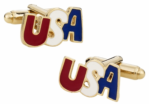 Gold Patriotic USA Cufflinks