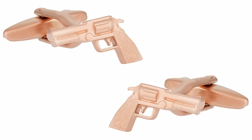 Rose Gold Golden Handgun Gun Cufflinks