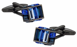 Gunmetal Blue Crystal Cube Cufflinks