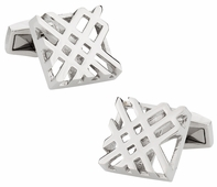 Hollow Check Silver Cufflinks