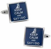 Keep Calm Say I Do Cufflinks
