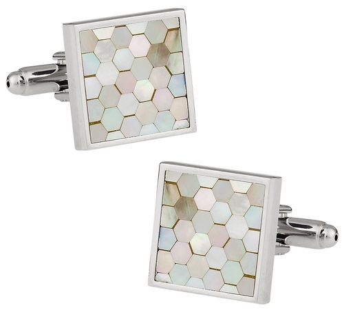 Mother of Pearl Honeycomb Cufflinks