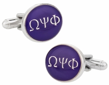 Omega Psi Phi Purple Silver Cufflinks