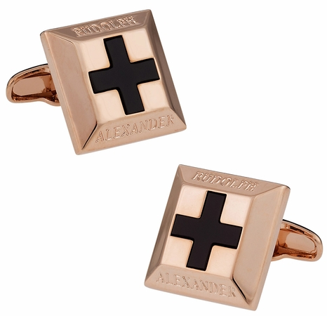 Onyx Cross Rose Gold Cufflinks