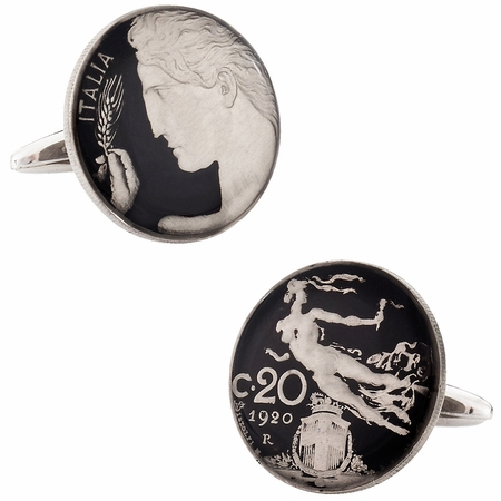 Painted Italy 20 Centesimi Coin Cufflinks