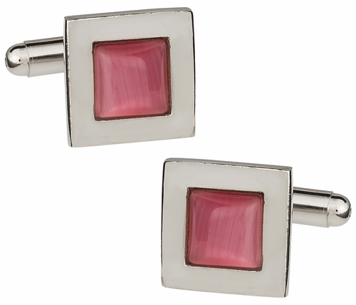 Pink Fiber Optic Cufflinks