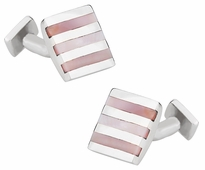 Pink Mother of Pearl Sterling Silver Cufflinks