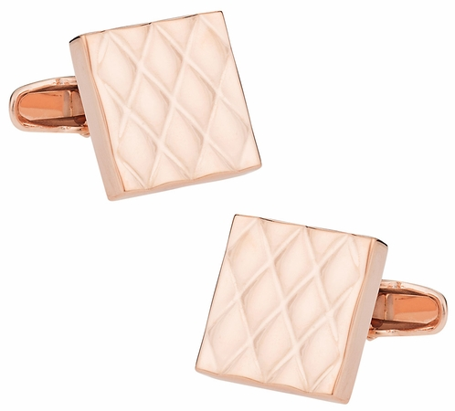 Quilted Metallic Rose Gold Cufflinks