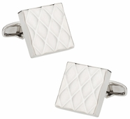 Quilted Metallic Silvertone Cufflinks