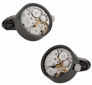 Real Gunmetal Working Watch Movements Functioning Steampunk Cufflinks