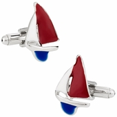 Red, White, & Blue Sailboat Cufflinks