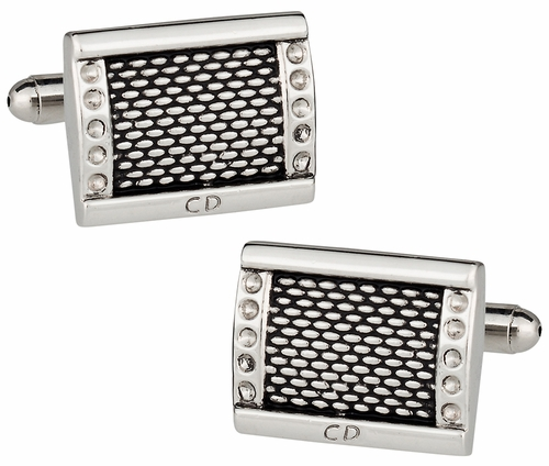 Rhodium & Black Enamel Cufflinks