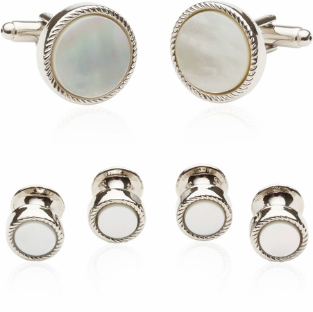 Ribbed Mother of Pearl Silver Tuxedo Cufflinks & Studs