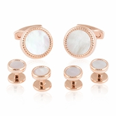 Rose Gold Mother of Pearl Cufflinks and Studs