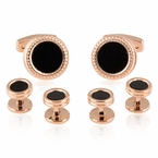 Rose Gold Black Cufflinks Studs Formal Set