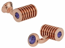 Rose Gold Tanzanite Swarovski Double Cufflinks