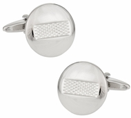 Round Burnout Silver Cufflinks