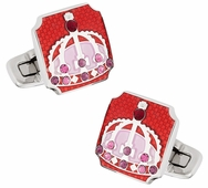 Royal Crown Cufflinks in Red