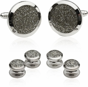 Silver Diamond Dust Tuxedo Cufflinks and Studs