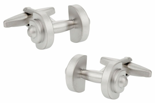 Silver Dumbbell Cufflinks