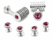 Silver Fuschia Swarovski Barrel Formal Set