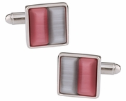 Silver & Pink Glass Cufflinks