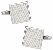 Silvertone Striped Cufflinks