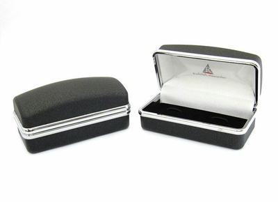 Square Wrap Black Metal Crystal Cufflinks