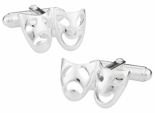 Sterling Silver Drama Mask Cufflinks