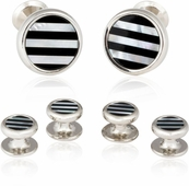 Striped Onyx Mother of Pearl Tuxedo Cufflinks Studs