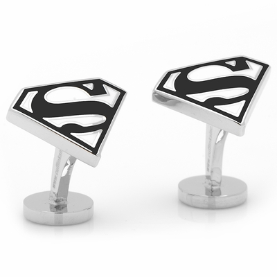 Licensed Superman Shield Cufflinks in Black and White Enamel