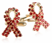 Swarovski Ribbon Cufflinks in Red Gold